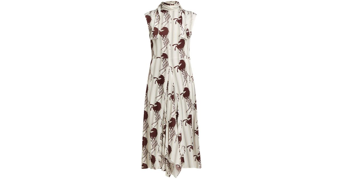 fe812bc1f9 Chloé Little Horses Print Panelled Cady Midi Dress in Brown - Lyst