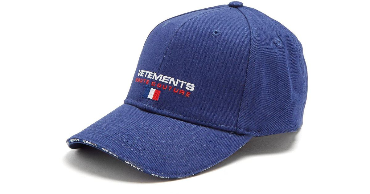Logo-embroidered canvas cap VETEMENTS sXfyHosbW