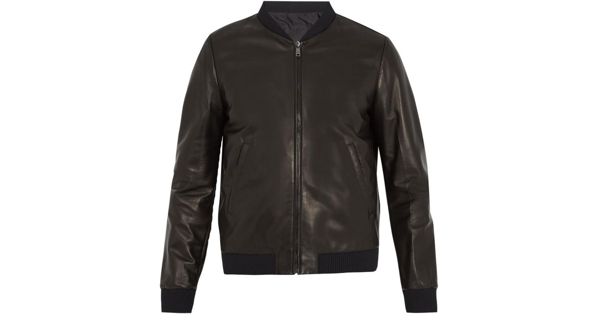 27c7c3cf Prada Black Leather Bomber Jacket for men