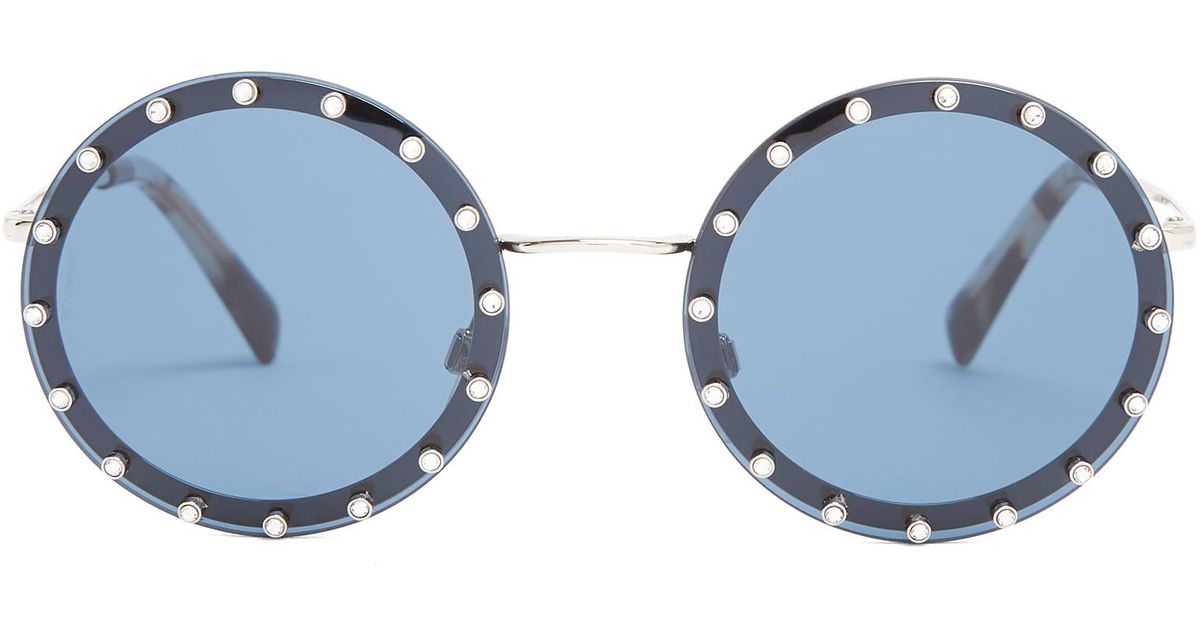 Lyst - Valentino Crystal-embellished Round-frame Metal Sunglasses in ...