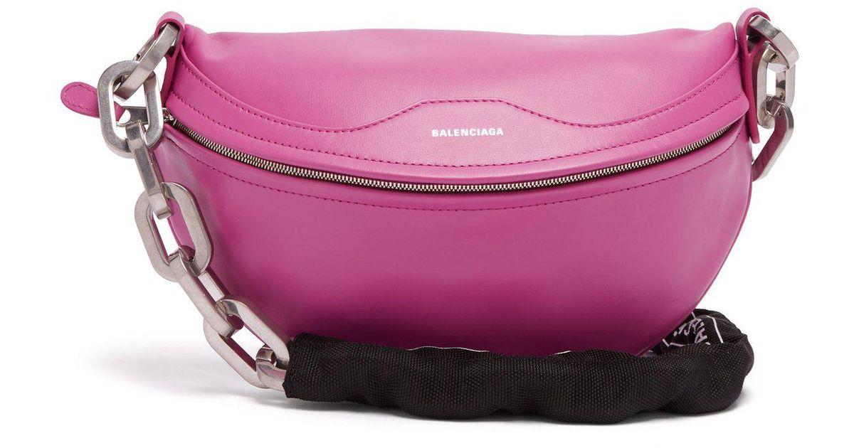 2dc6190a3d9 Balenciaga Souvenirs Bike-chain Leather Belt Bag in Pink - Lyst