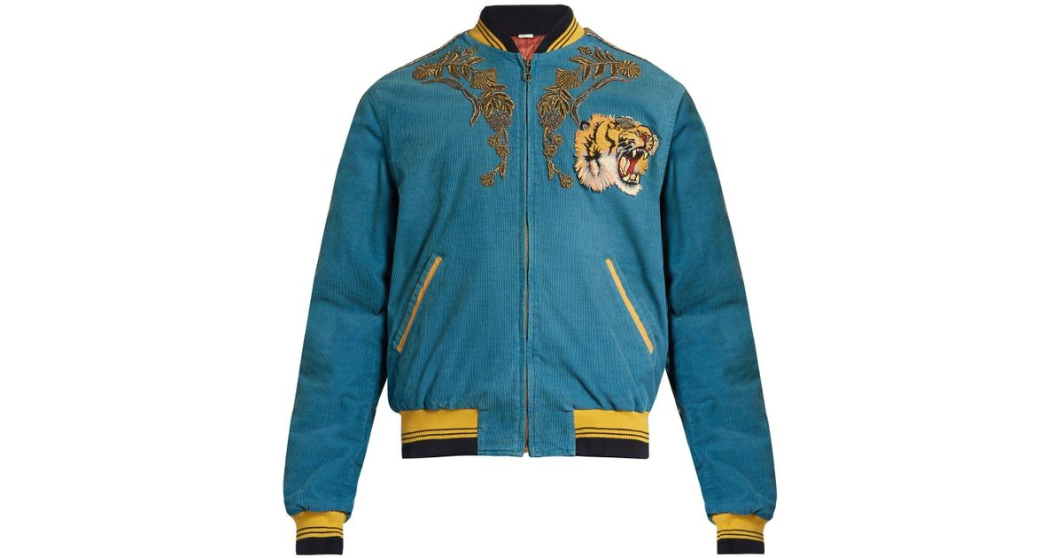 Lyst - Gucci Dragon Embroidered Corduroy Bomber Jacket in Blue for Men 6d9e93ef83