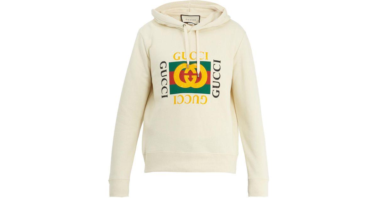 Gucci Multicolor Logo,print Cotton,jersey Hooded Sweatshirt for men