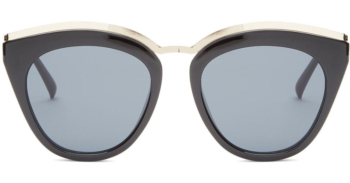 3bd9944b81e87 Le Specs Eye Slay Mirrored Cat-eye Sunglasses in Black - Lyst