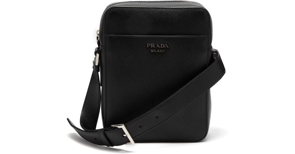 525e14a0df7e Embellished Lyst Prada Logo In Camera Black Leather Men For Saffiano Bag  SqEO7q