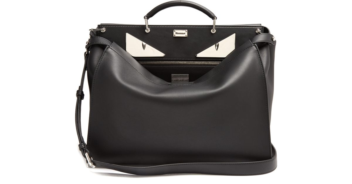 0b2c99c23979 Lyst - Fendi Peekaboo Bag Bugs-appliqué Leather Bag in Black