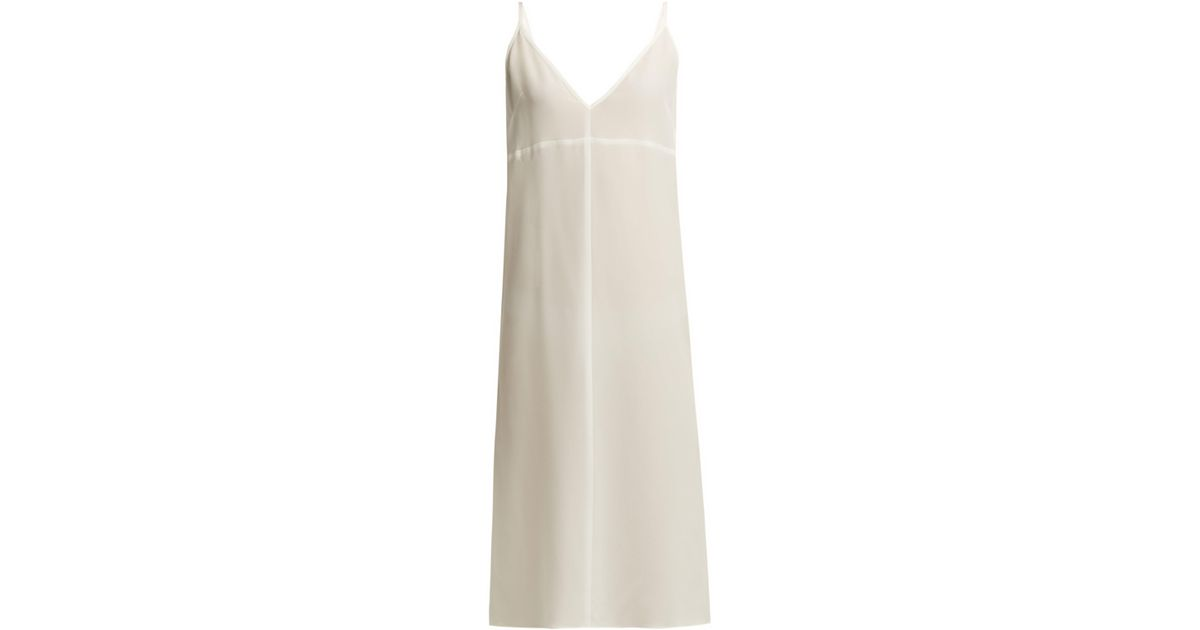 b6ad1cac366a Raey Fitted Deep V Neck Silk Slip Dress in White - Lyst