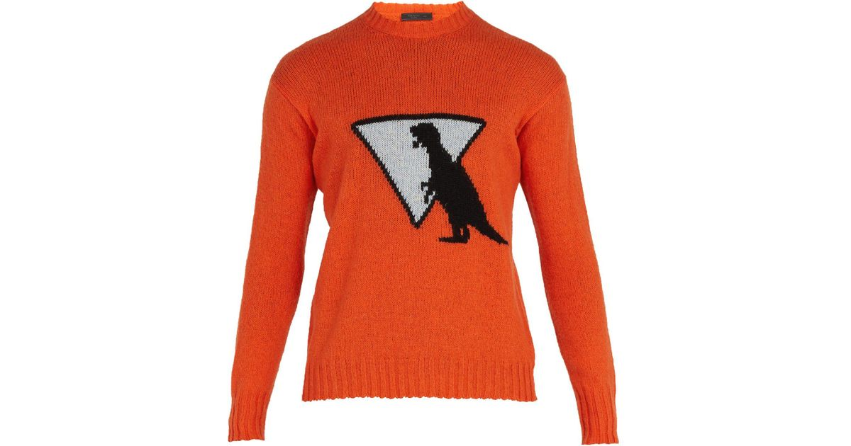 1737c5b2743 Prada Orange Dinosaur Wool Sweater for men