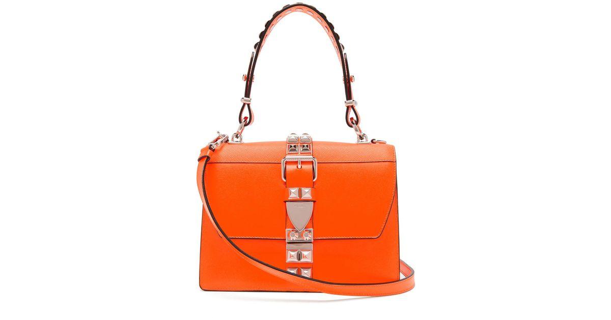 Clous Elektra Prada Orange Sac Épaule Porté En Coloris À Cuir 0Xw8kOPn