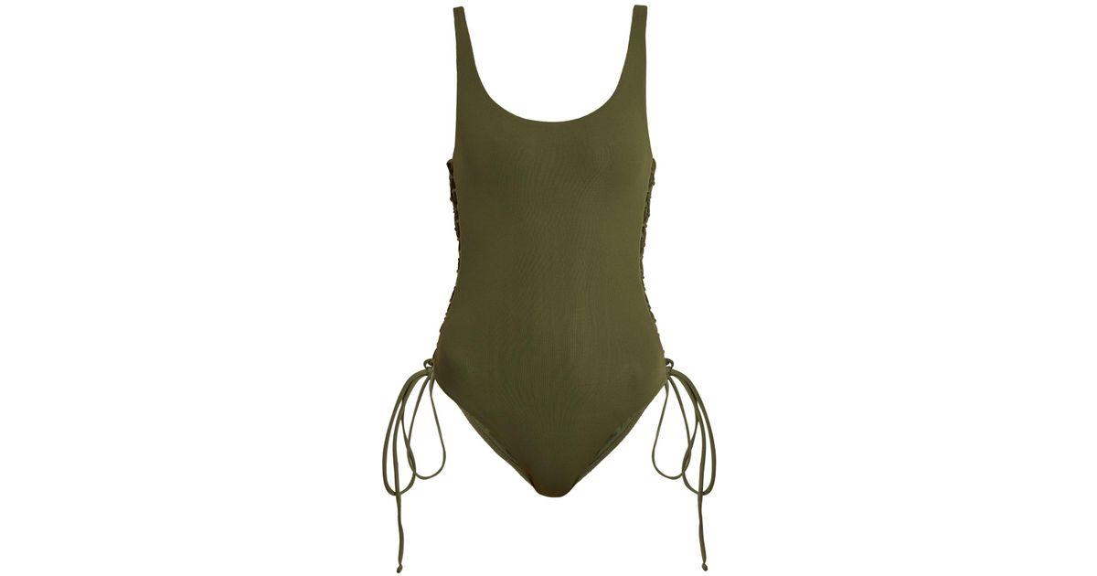 d18955e2a4871 Maillot de bain échancré à lacets Cuba Melissa Odabash en coloris Vert - 50  % de réduction - Lyst
