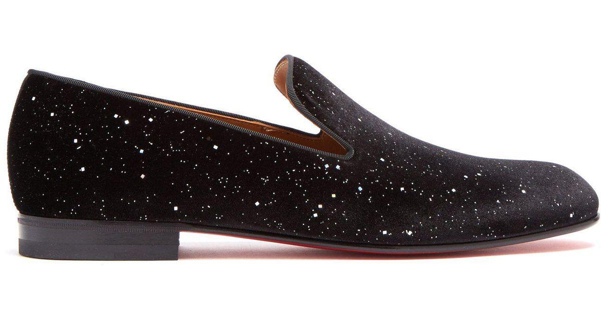 e1c63d864ae Christian Louboutin Black Rollerboy Velvet Glitter Loafers for men