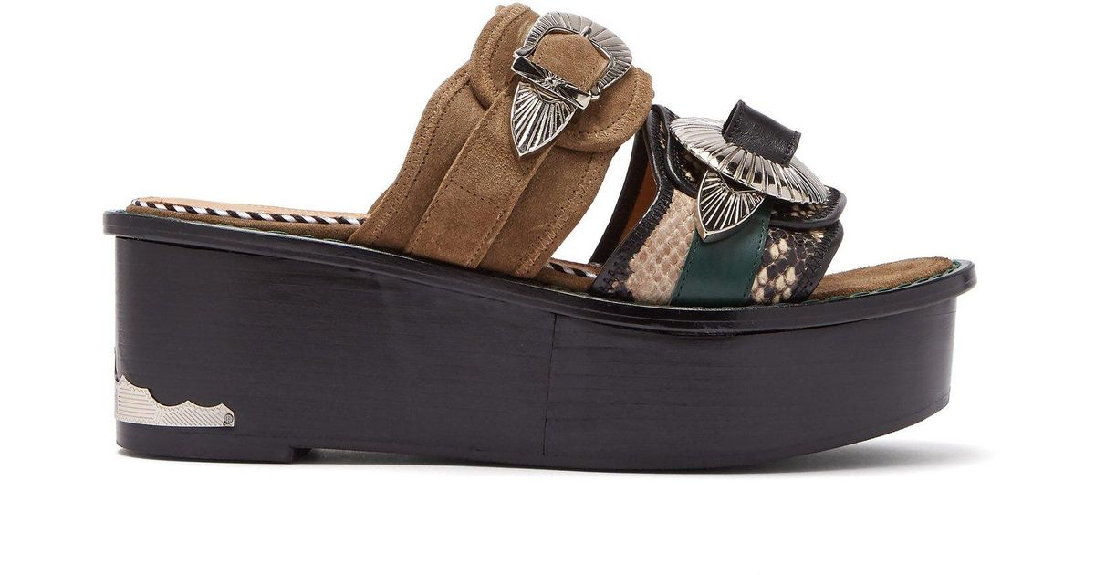 7b9d344292d Lyst - Toga Double Strap Suede And Leather Flatform Sandals