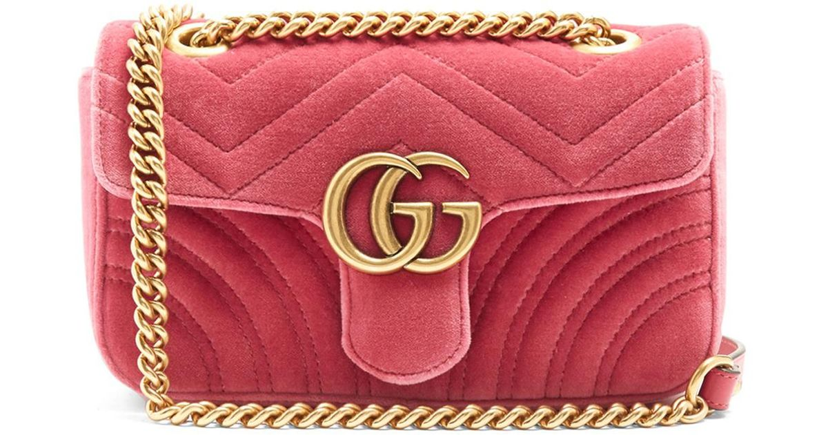 02439d82d284 Gucci Gg Marmont Mini Quilted-velvet Cross-body Bag - Lyst