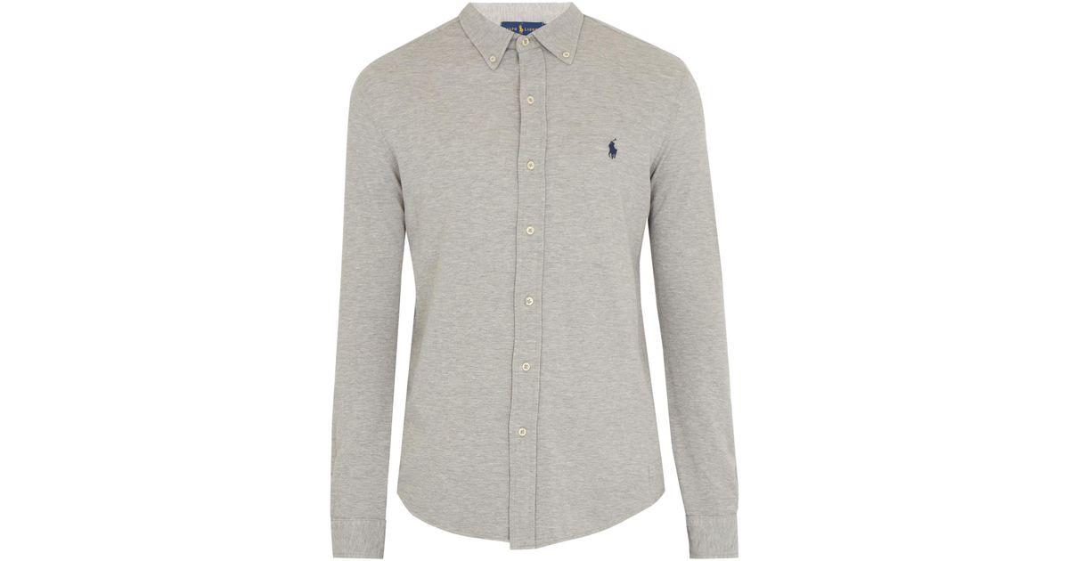 2ca5522b34b2 Lyst - Polo Ralph Lauren Mesh-knit Cotton Oxford Shirt in Gray for Men