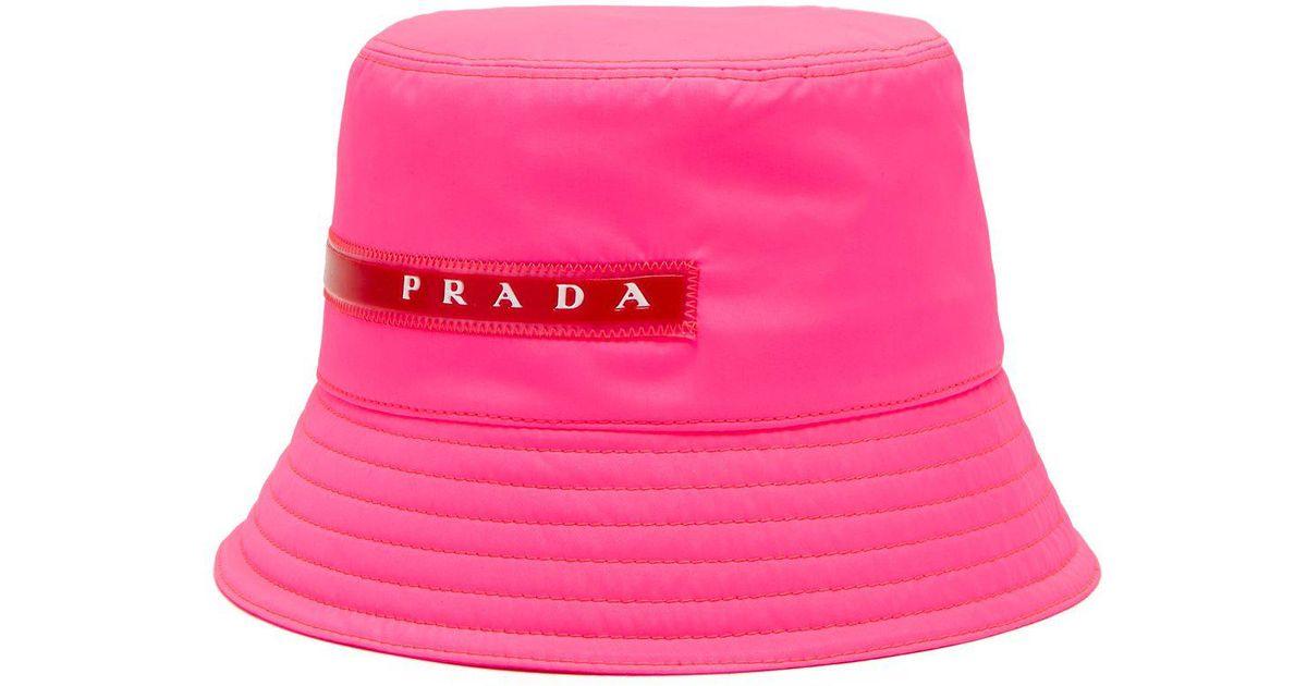 Lyst - Prada Linea Rossa-logo Bucket Hat in Pink 66bb89be0f8