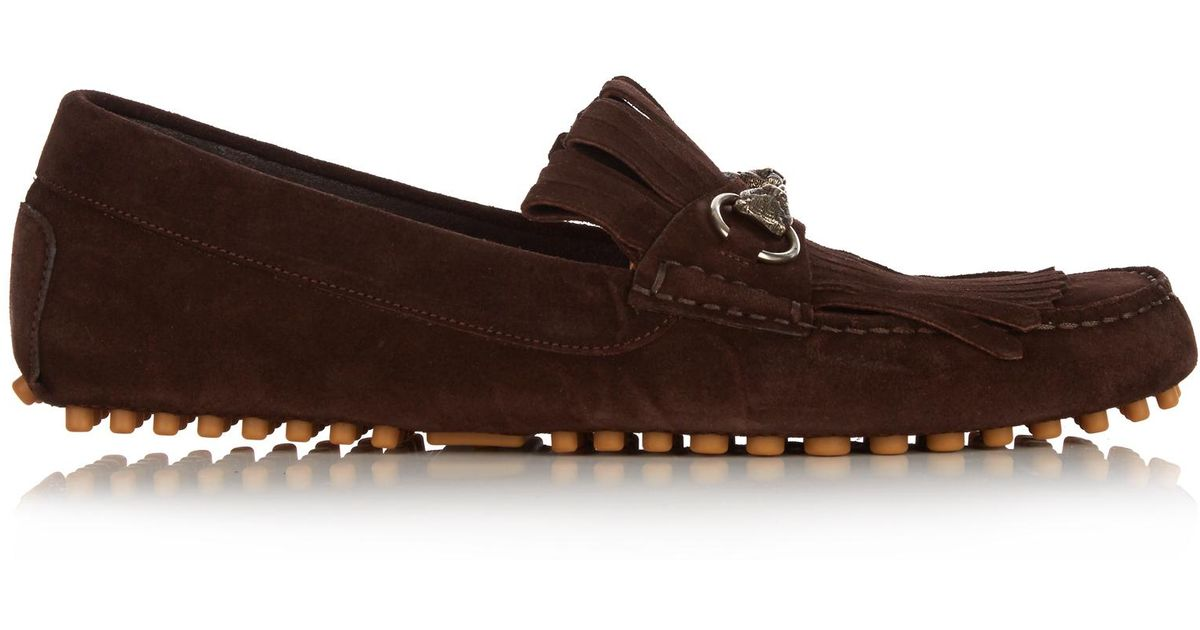 8caf35bbf5f Lyst - Gucci Road Jump Fringed Suede Loafers in Brown for Men