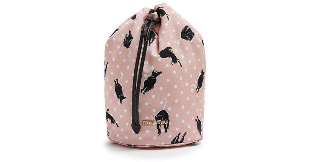 Lyst - Miu Miu Cat-print Nylon Pouch in Pink 75105a9de2c95