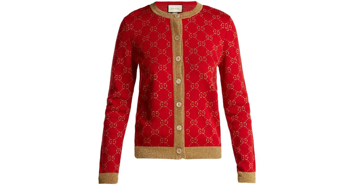 f518b182a9 Gucci Red Gg Jacquard Knit Cotton Blend Cardigan