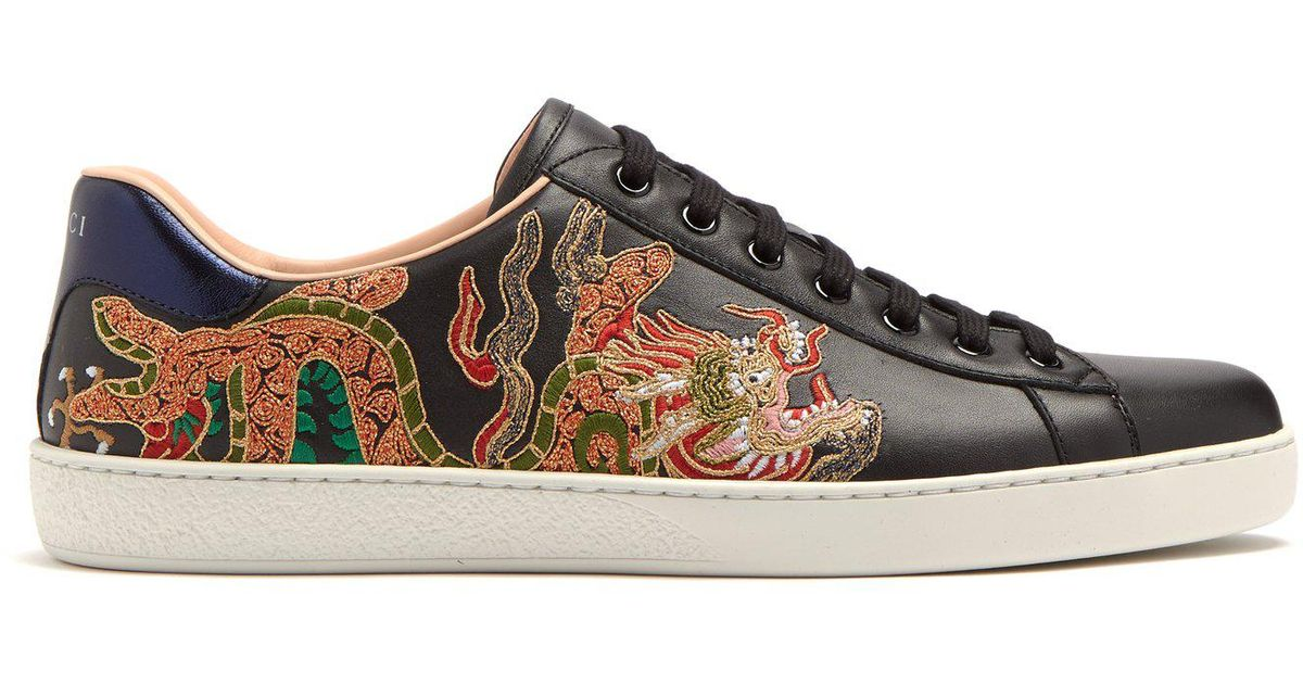 5c2a9f35 Gucci Black Ace Dragon-embroidered Low-top Leather Trainers for men
