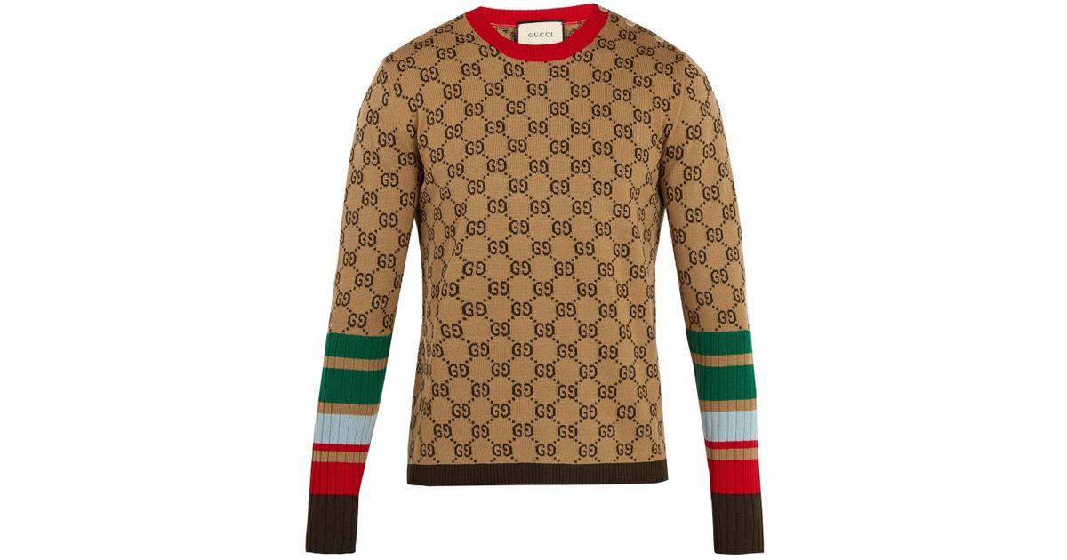 751e25e1f Gucci Gg-jacquard Crew-neck Wool Sweater in Natural for Men - Lyst