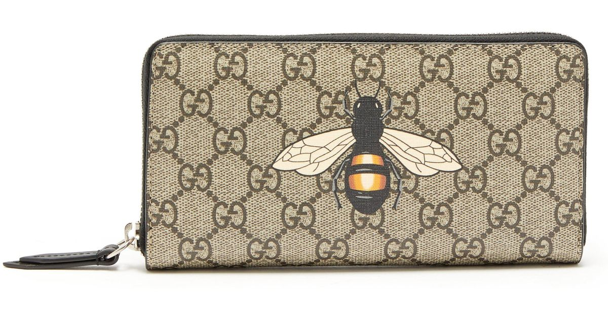 d875bf2ac6ee Gucci Gg Supreme Bee Print Wallet in Brown for Men - Lyst