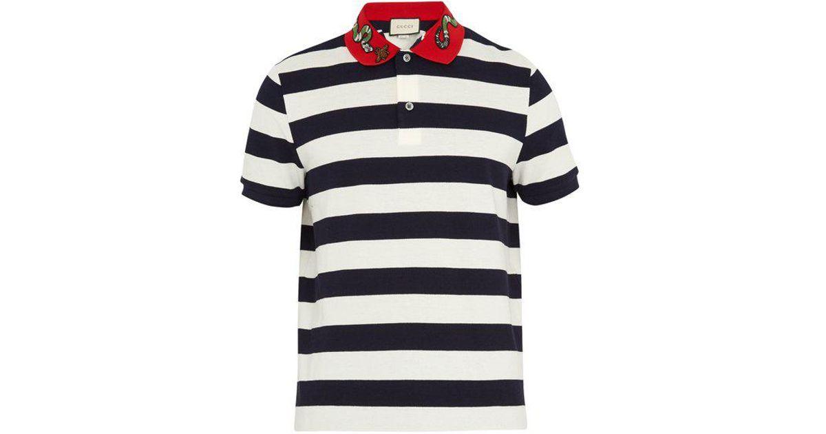 b187b029 Gucci Snake-appliqué Striped Cotton Polo Shirt in Blue for Men - Lyst