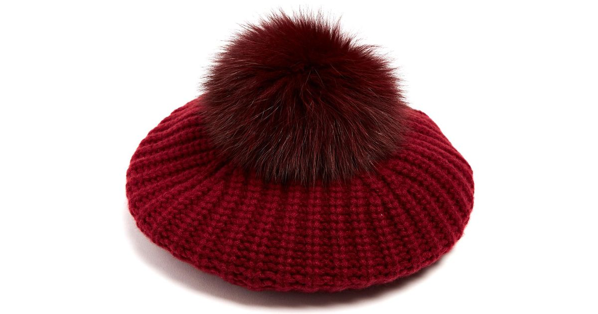1ff5734ccee Lyst - Moncler Fur-pompom Wool And Cashmere-blend Beret in Red