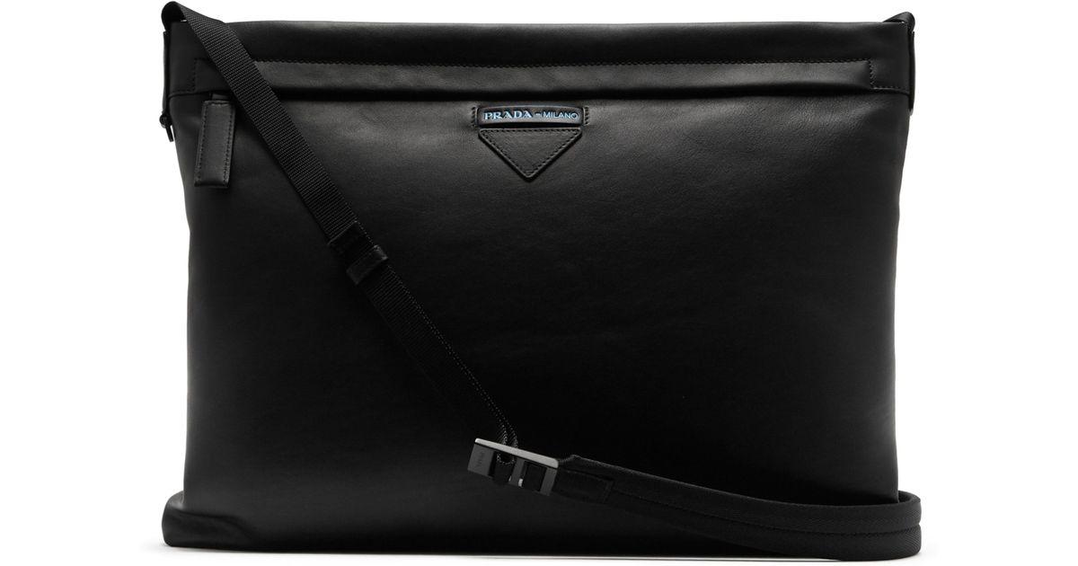 30f276f3d929 Prada Logo Embossed Leather Cross Body Bag in Black for Men - Lyst