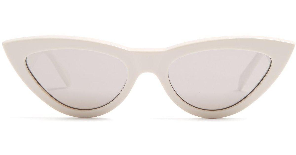d7a1a037d6f Lyst - Céline Cat-eye Acetate Sunglasses in White
