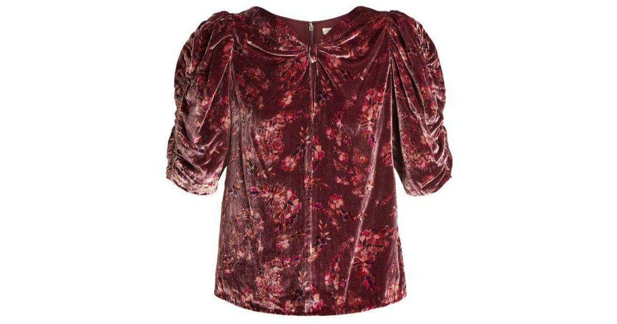 Comfortable For Sale Jewel ruched-sleeve floral-print velvet top Rebecca Taylor Original Online A3P6KiD