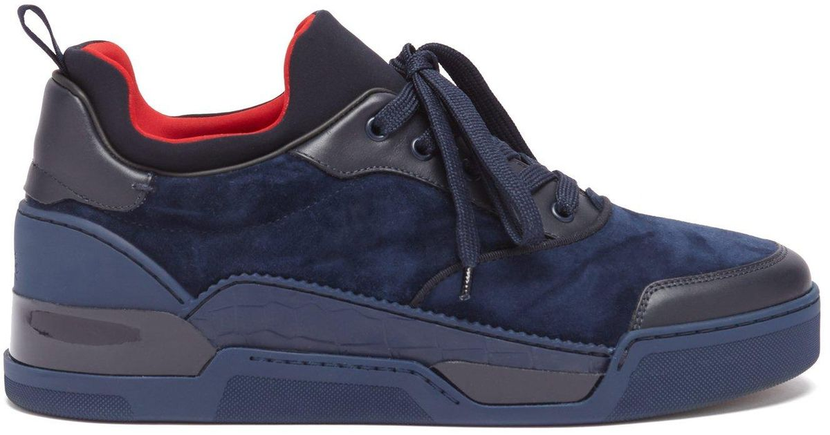 ae9078ee120 Christian Louboutin - Blue Aurelien Low Top Suede Trainers for Men - Lyst