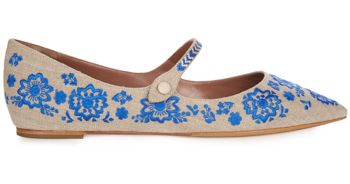 best sneakers on sale amazon Tabitha Simmons Blue Hermione Point-toe Embroidered Flats