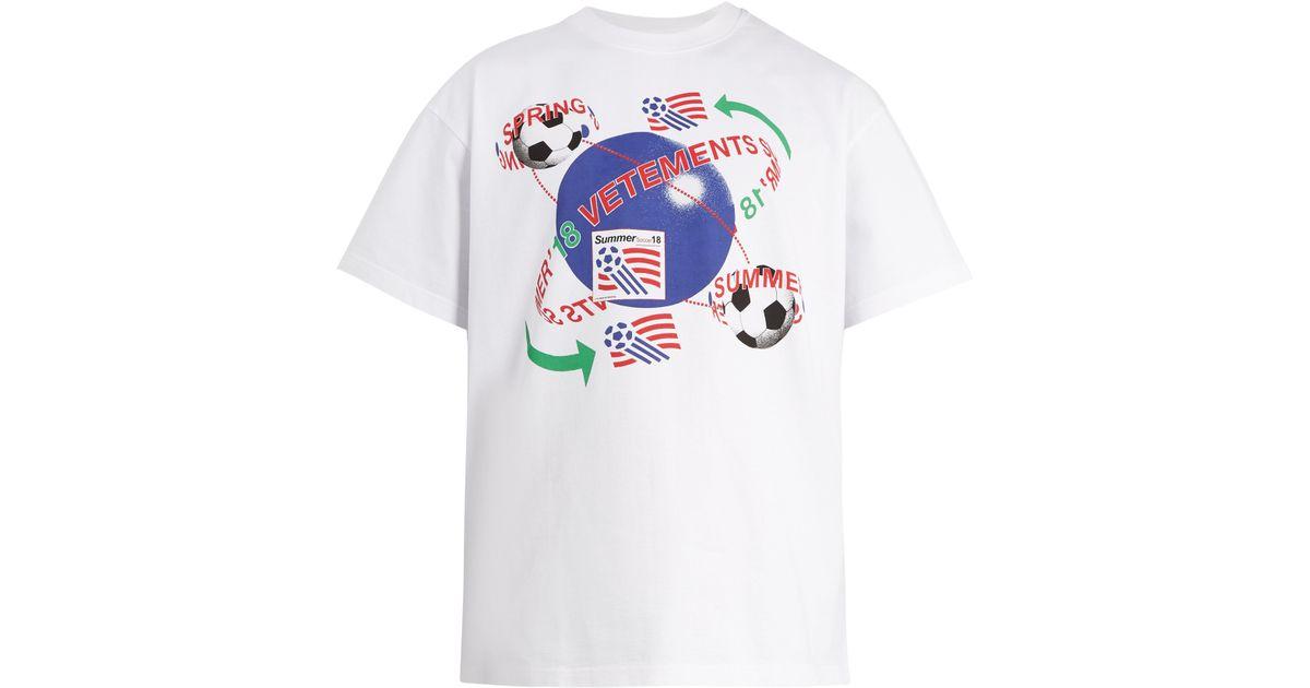 6611e6b4 Vetements Football Print Cotton T Shirt in White for Men - Lyst