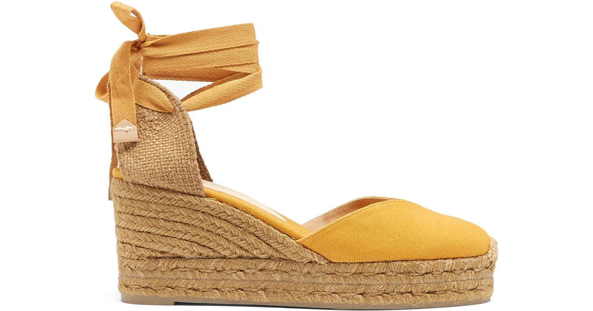 9a2247a0bfe Castaner Yellow Chiara Canvas Wedge Espadrilles