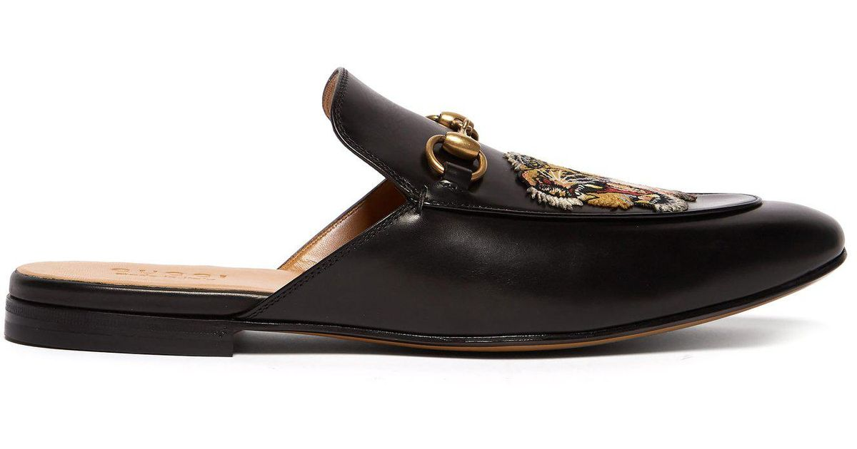 d604b0800ef Lyst - Gucci Kings Tiger Appliqué Backless Leather Loafers in Black for Men