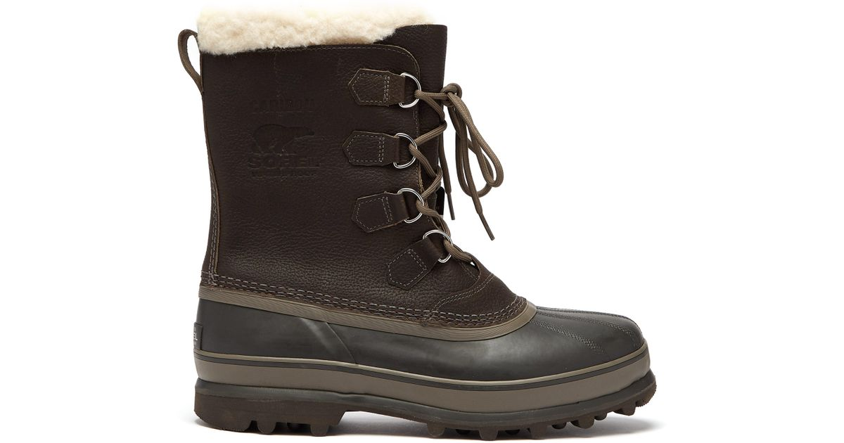 dedc46f462a Sorel Gray Caribou Faux Shearling Lined Snow Boots for men