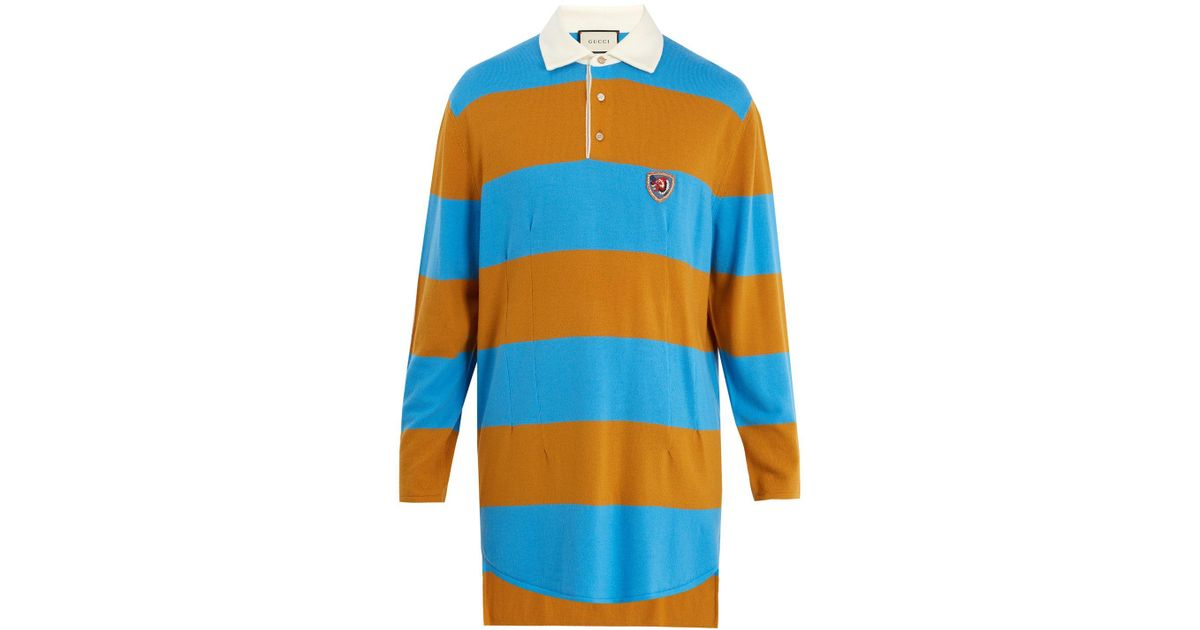 684162dfc0f Lyst - Gucci Wolf-patch Striped Wool Polo Shirt in Blue for Men