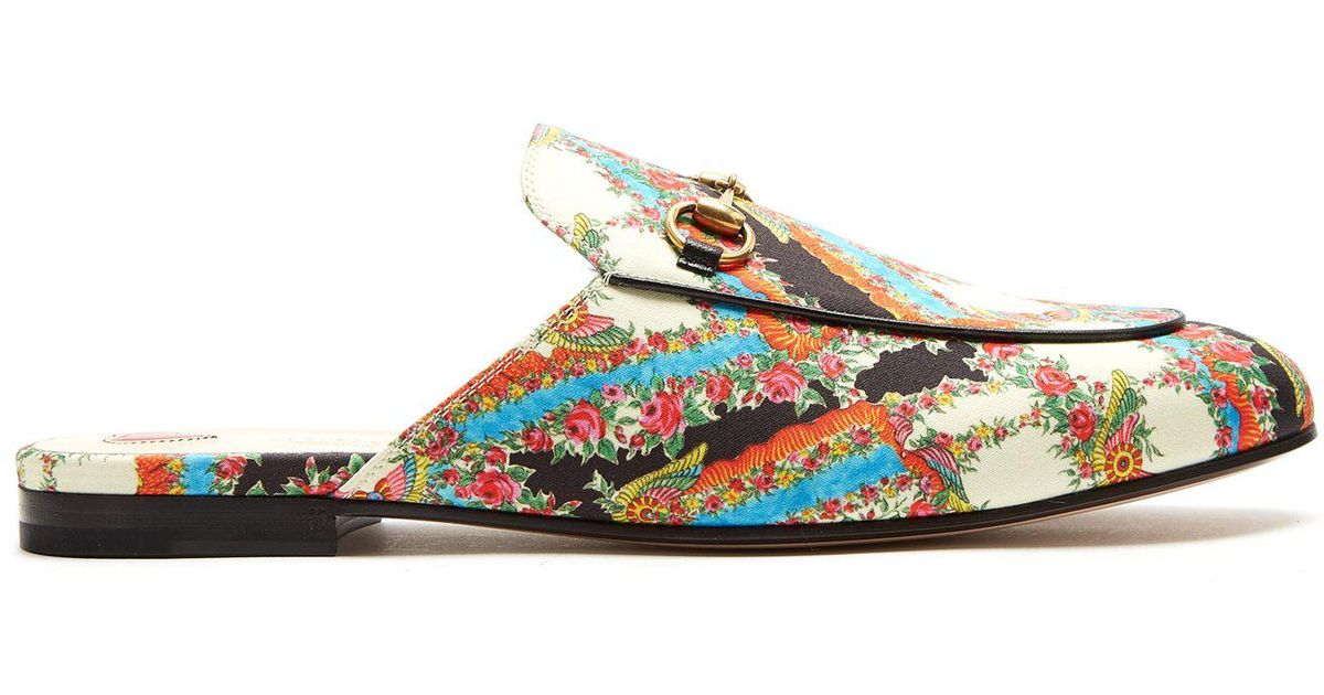 0c8622e0f6307 Lyst - Gucci Princetown Floral-print Backless Loafers