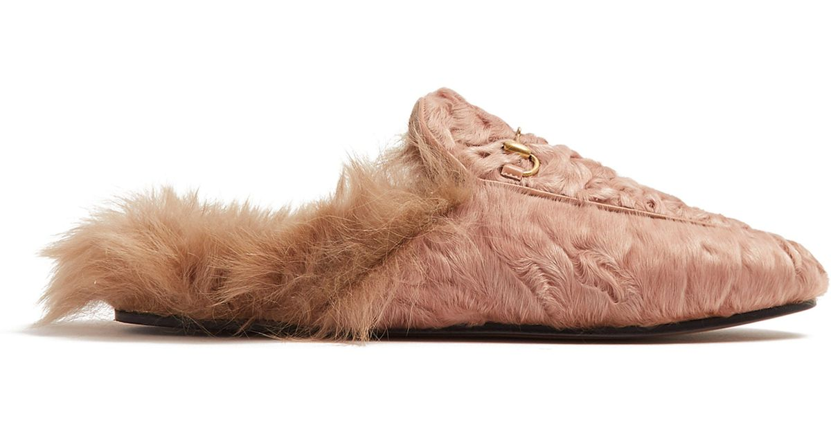 921666011 Gucci Princetown Shearling-lined Fur Loafers in Pink - Lyst