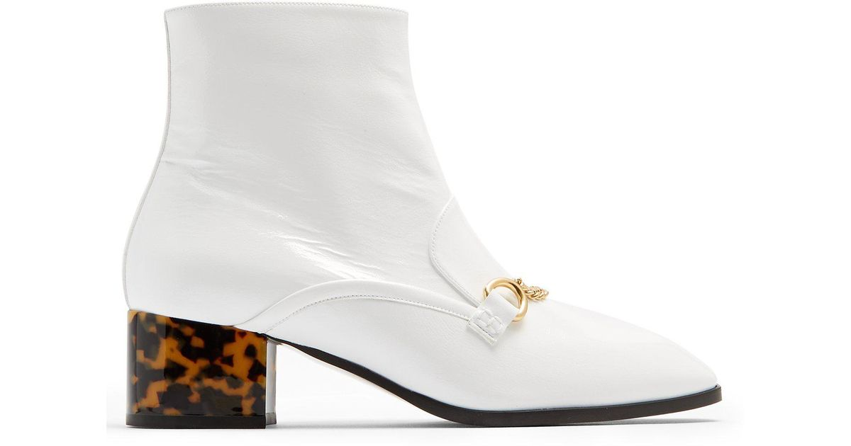 321560581b7 Stella McCartney White Block-heel Faux-leather Ankle Boots