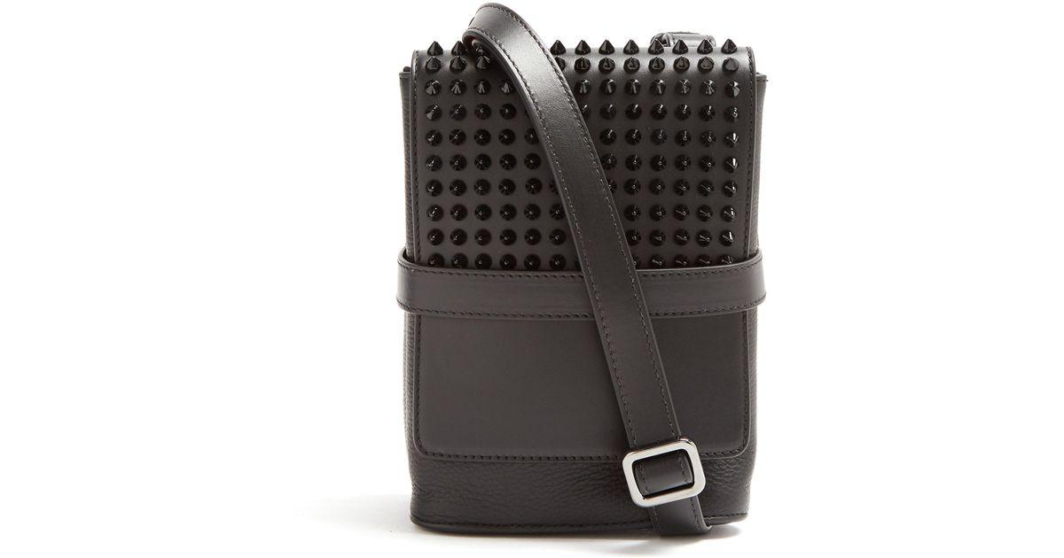 bb1eb27737f Christian Louboutin Black Benech Reporter Studded Leather Cross Body Bag  for men