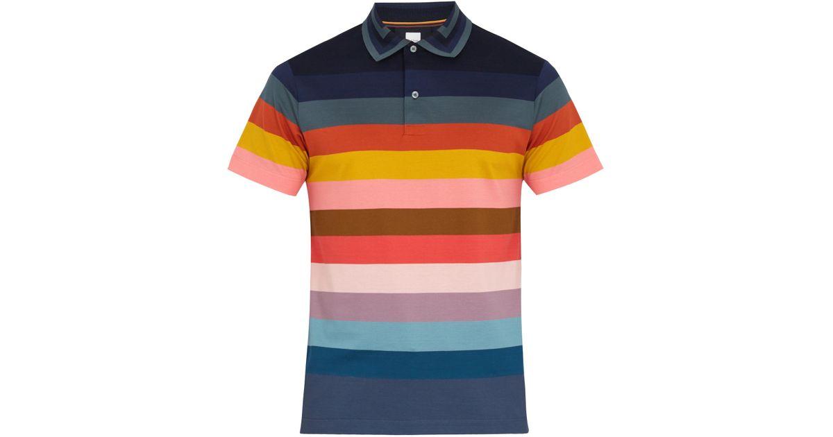 d31011970 Paul Smith Rainbow Striped Cotton-piqué Polo Shirt for Men - Lyst