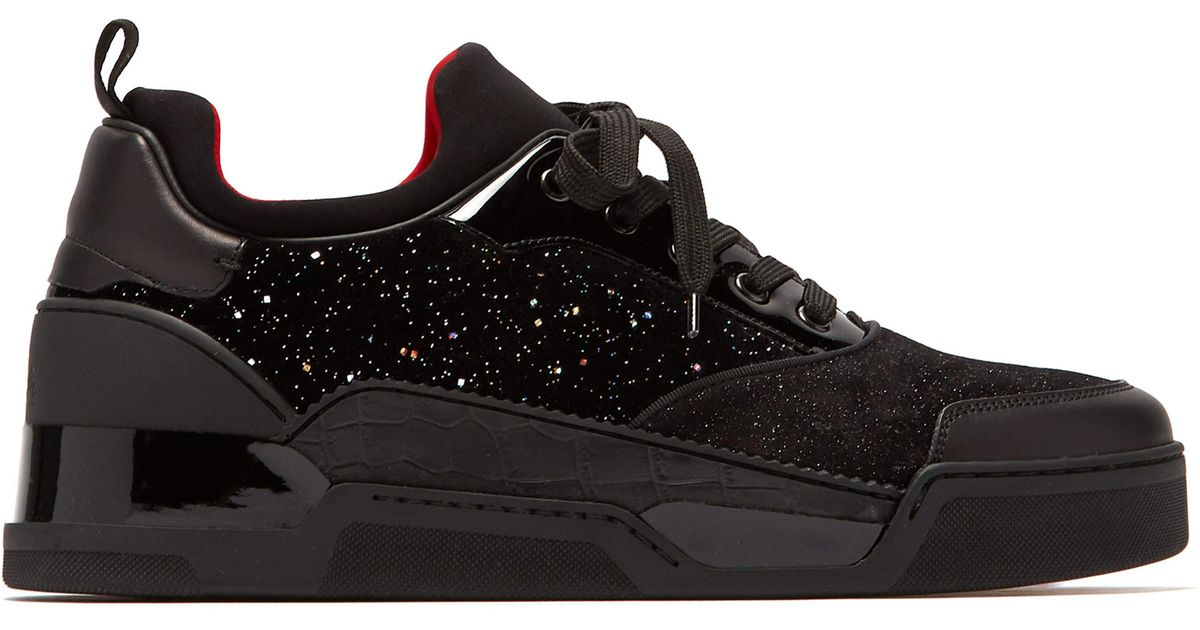 100% authentic 0baed fb097 Christian Louboutin Black Aurelien Glittered Velvet And Suede Trainers for  men