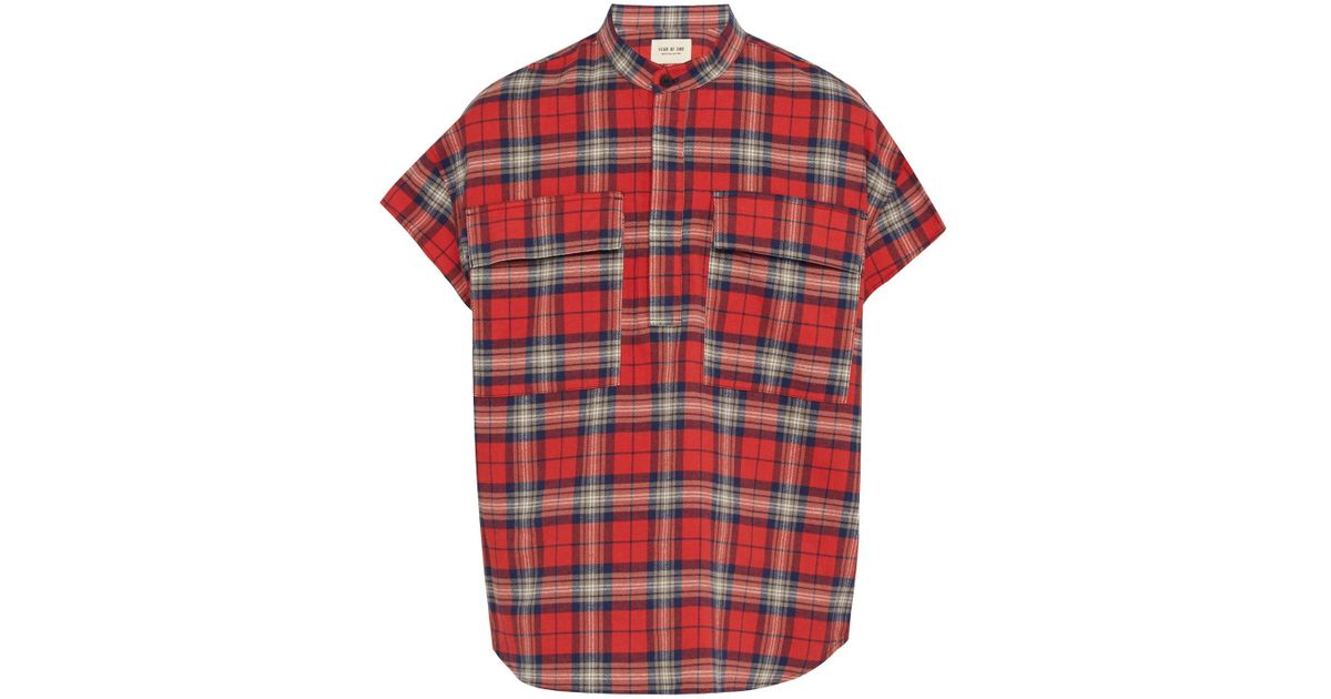 7295f20b71 Lyst - Fear Of God Check Brushed Cotton Flannel Shirt in Red for Men
