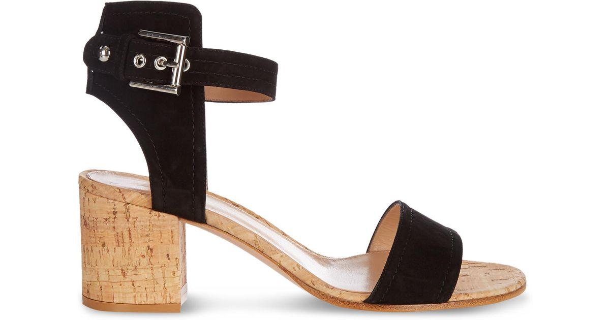 58053679403 Lyst - Gianvito Rossi Rikki Cork Block-heel Sandals in Black