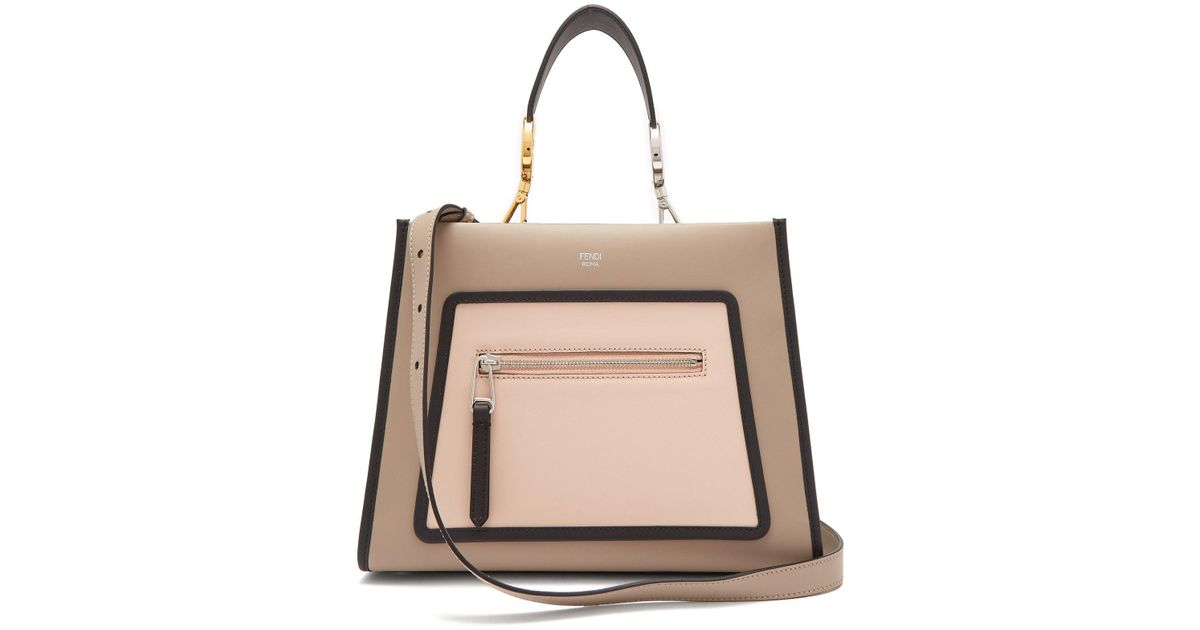 397336f7b998 Lyst - Fendi Runaway Leather Tote Bag