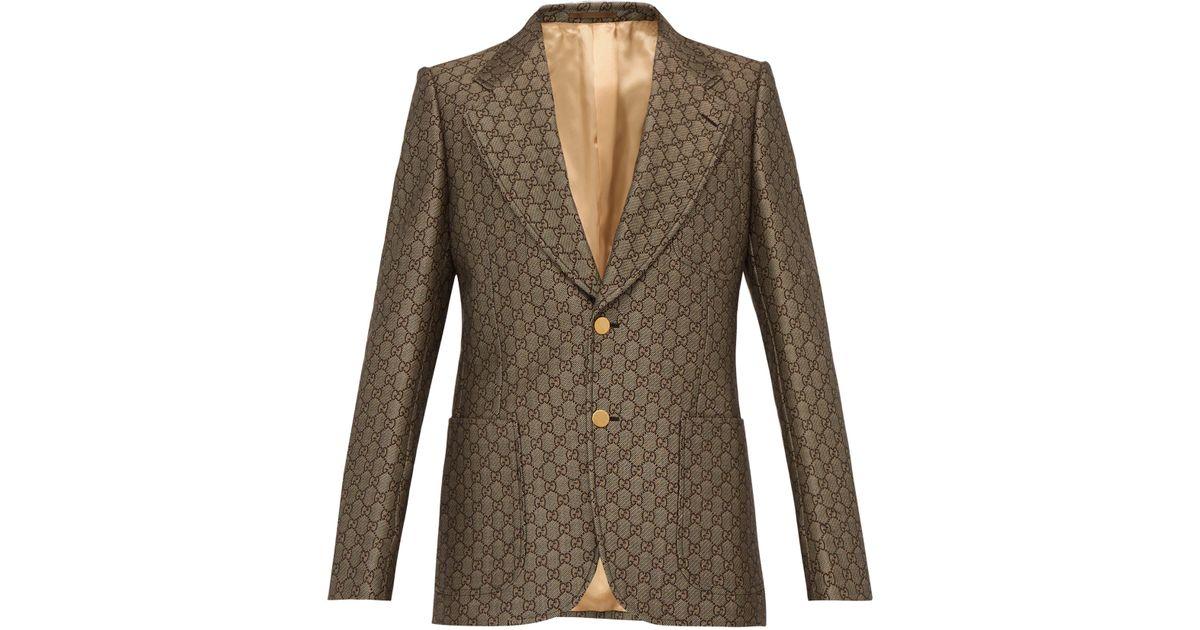 Lyst - Veste de costume à boutonnage simple et logo GG Gucci pour homme en  coloris Marron 96571d9253a6