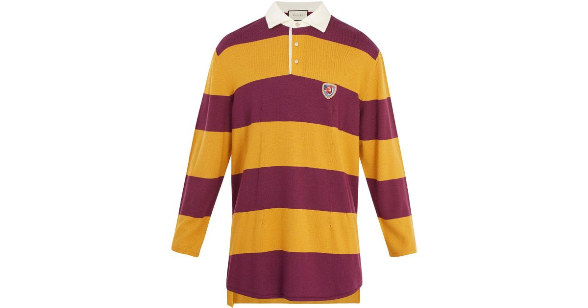 af39cfc8534 Gucci Wolf-embroidered Striped Wool Rugby Shirt for Men - Lyst