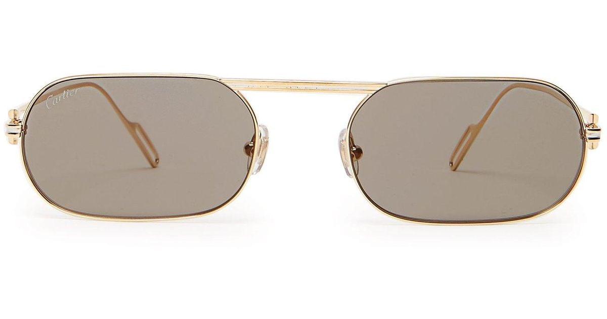 Metallic Metal Première De For Oval Sunglasses Cartier Men XiuPOkZT