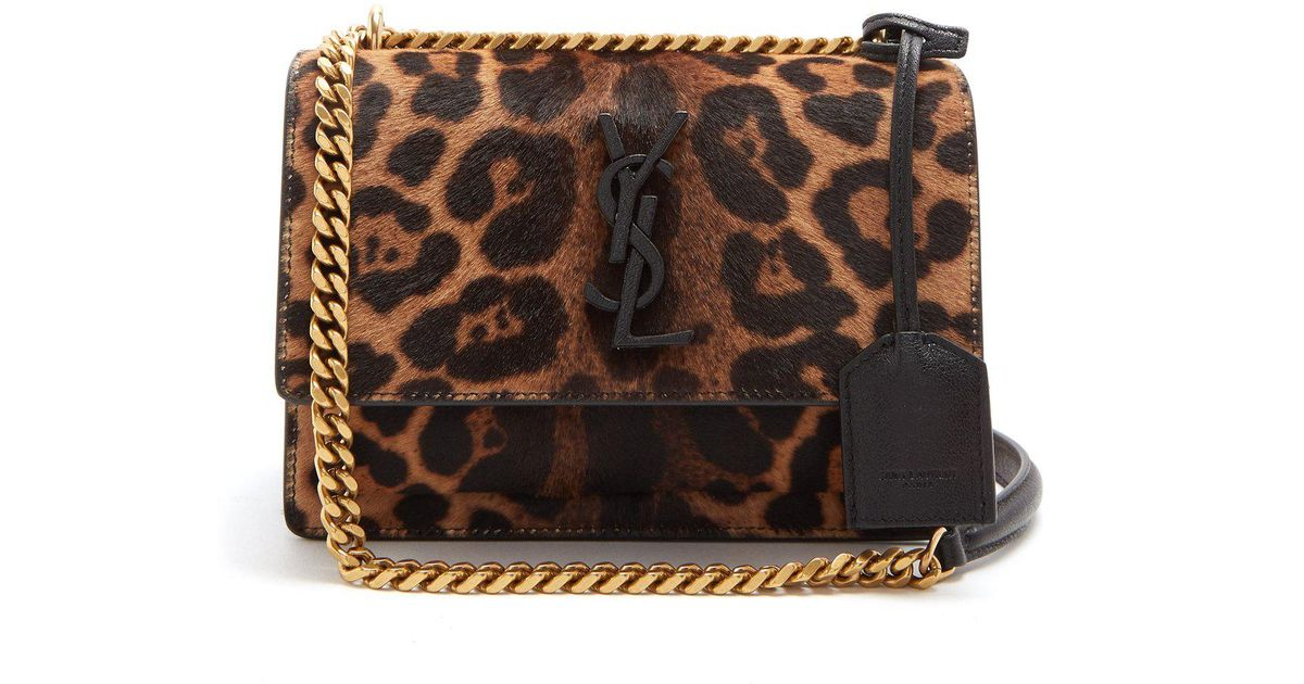 a3ff9fd7072f Saint Laurent Sunset Small Leopard-print Calf-hair Bag - Lyst